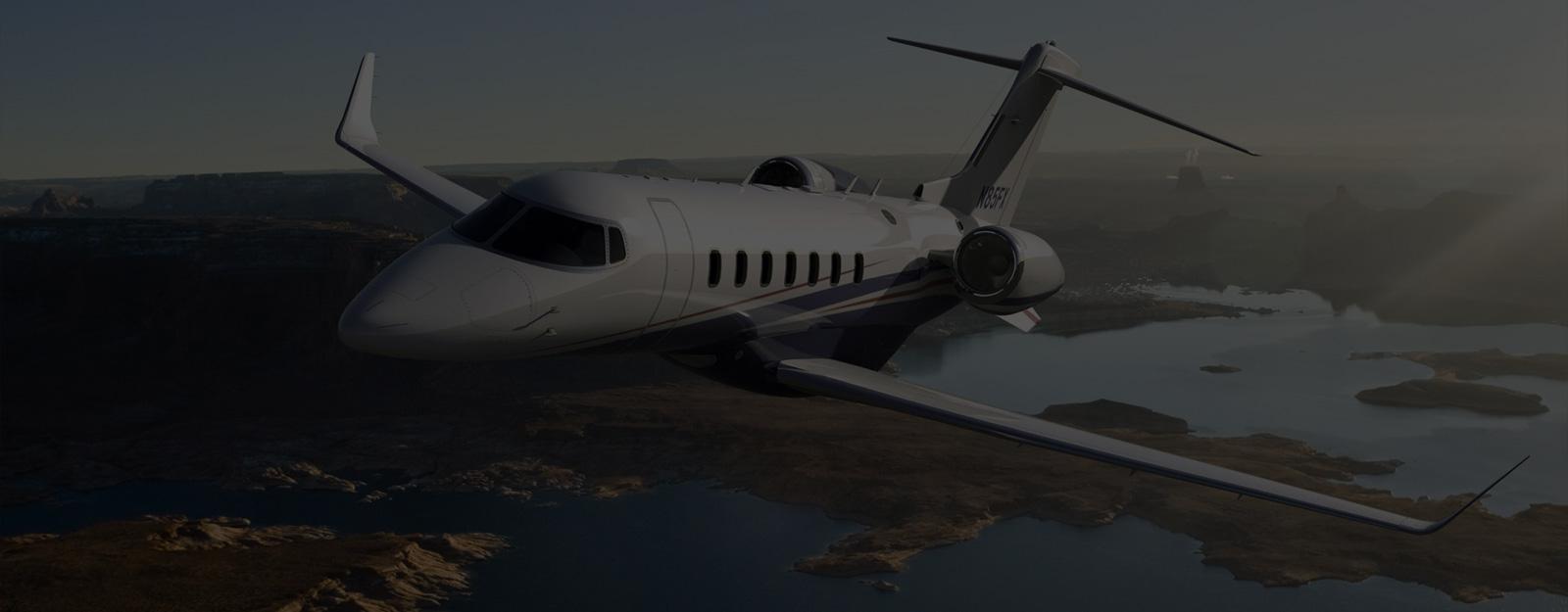 White private jet in flight